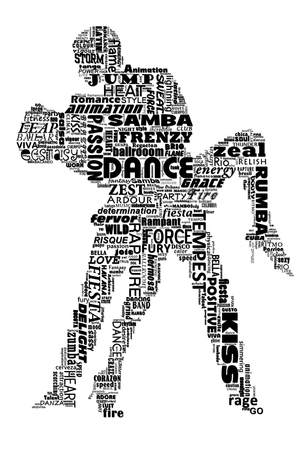 Illustration of silhouetted dance partners made up of dance-related and inspirational words