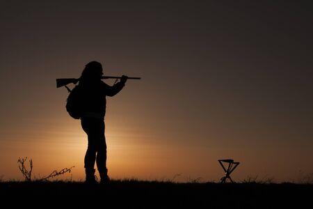 upland: Female Upland Game Hunter in Sunset