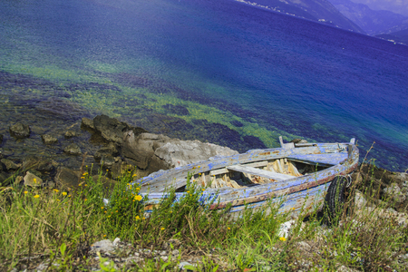 Old boat  in the beach