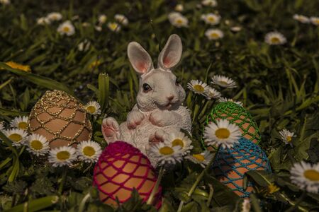 Easter eggs with buuny in the grass