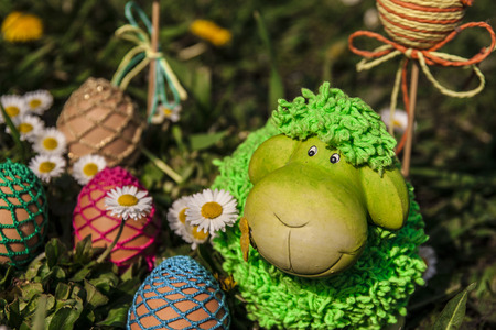 Sheeo with easter eggs