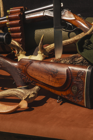 rifle with ammunition on the skin
