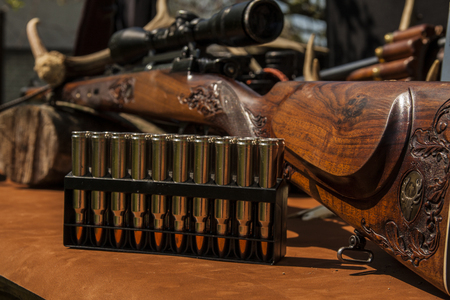 rifle with ammunition