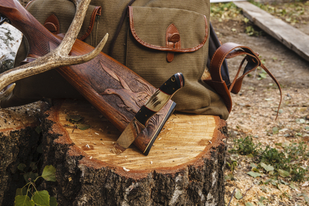 Knife,rifle and horn