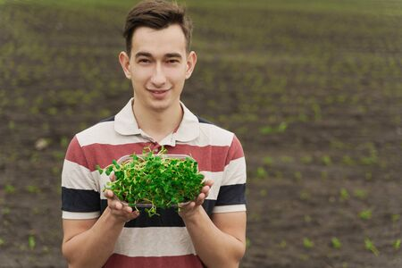 Vegeterian microgreen with soil in hands. Man holds green microgreen of sunflower seeds in hand. Healthy vegan food delivery. Advertise for healthy food restaurant. Empty right side for text of advert