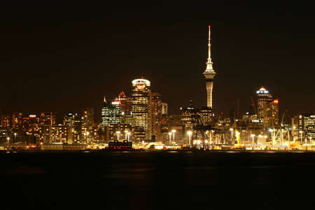Auckland cityscape on a clear summer night Stock Photo