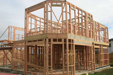 uncompleted: Building of a new house during the framing stage