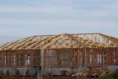 wood framing the start of a new house Stock Photo - 955288