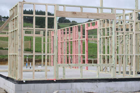 wood framing the start of a new house Stock Photo - 955290