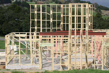 wood framing the start of a new house Stock Photo - 955291