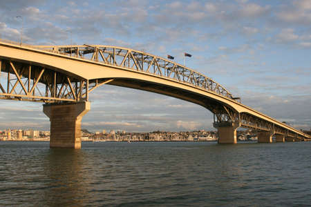 habour: Auckland Habour Bridge at sunset new zealand