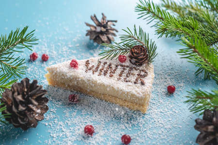 Piece of white mousse cake covered with coconut flakes imitating snow on a blue background. There is word Winter on the slice. Concept of the season winter.