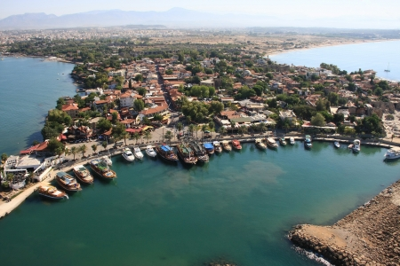 east asia: Town of Side, Turkey. Aerial photography. Photo from the trike Stock Photo