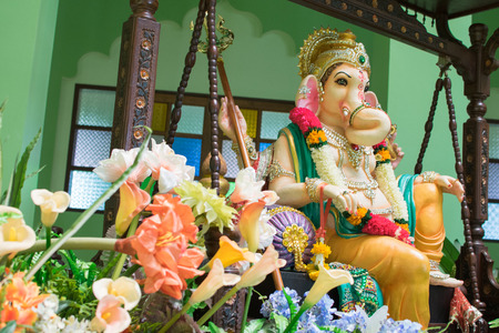 Ganesh Greeting showing photograph of lord ganesha idol  decoration