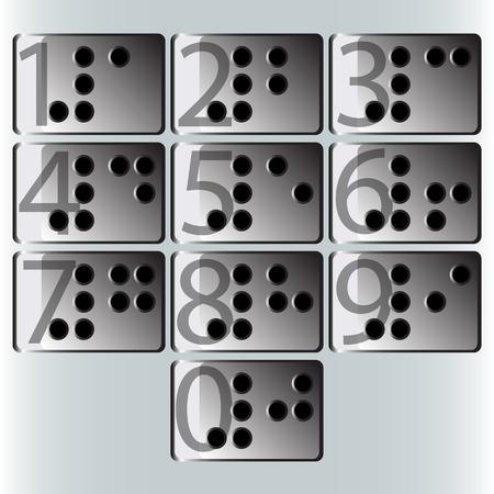 braille: vectores n�mero de Braille Foto de archivo