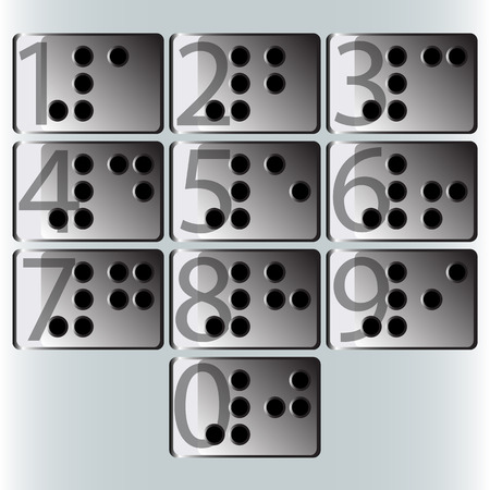 braille: vectors number to Braille Stock Photo