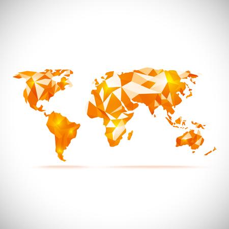 vectors World Map polygonal precision low-poly orange