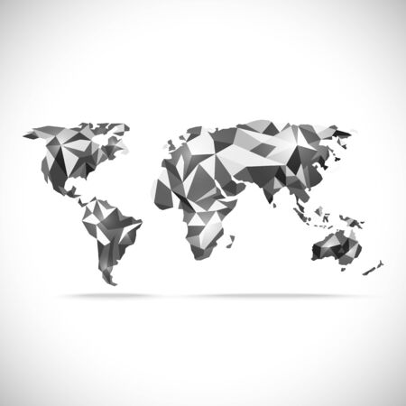 precision: vectors World Map polygonal precision low-poly black