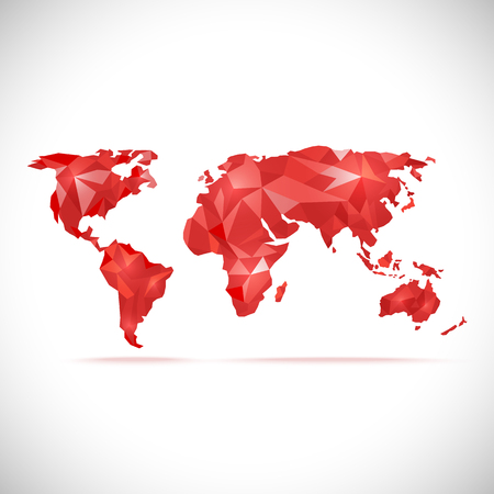 precision: vectors World Map polygonal precision low-poly red Illustration