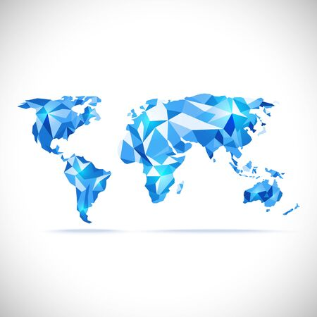 precision: vectors World Map polygonal precision low-poly blue Illustration