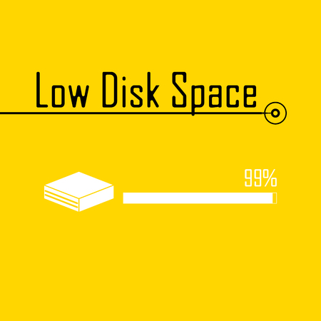 error: message error Low Disk Space sign