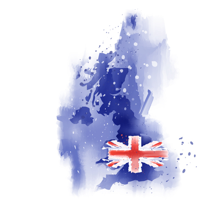 map of United Kingdom Watercolor paint