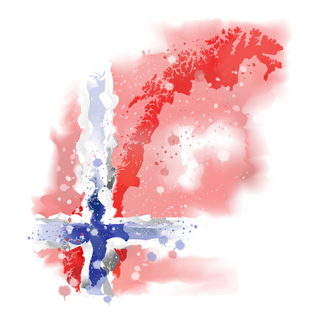 map of Norway Watercolor paint Illustration