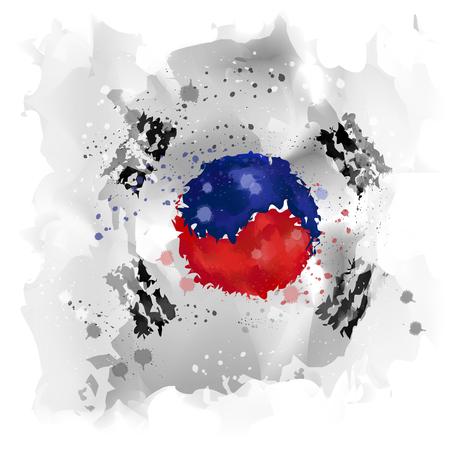 nuclear war: Map of Korea Watercolor paint