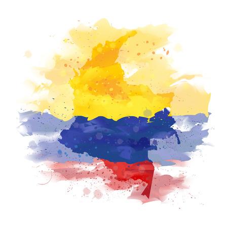 콜롬비아지도 수채화 물감 일러스트