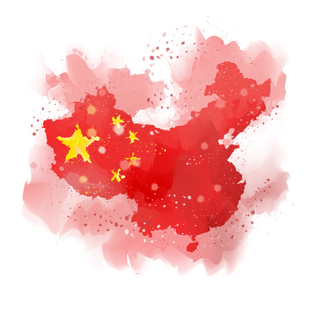 map of China Watercolor paint