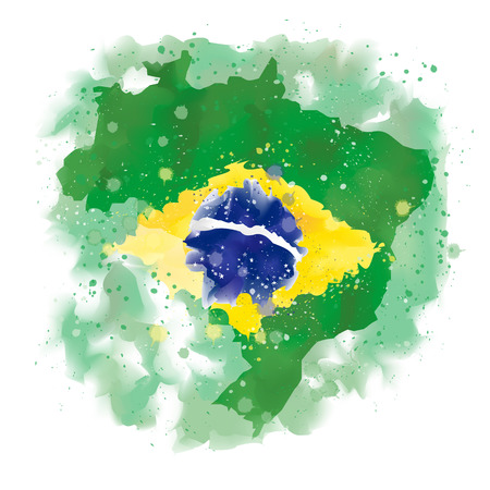 clime: map of Brazil Watercolor paint Illustration