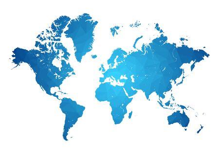 vecteurs carte du monde précision polygonale low-poly bleu Vecteurs
