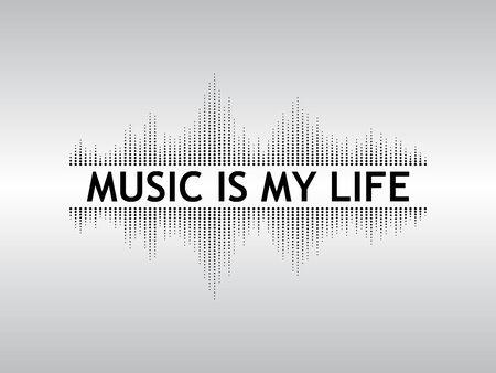 Abstracte zwarte achtergrond geluidsgolven met de tekst Muziek is mijn leven.
