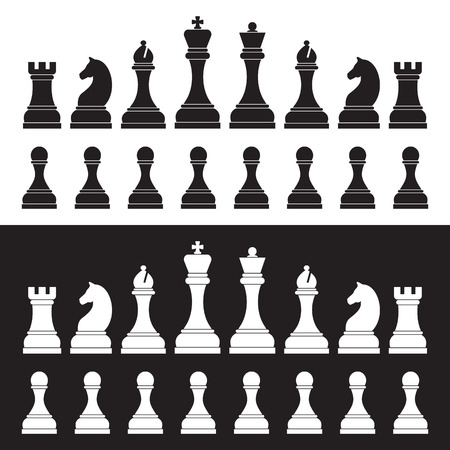 Chess silhouettes on white and black background. Illustration