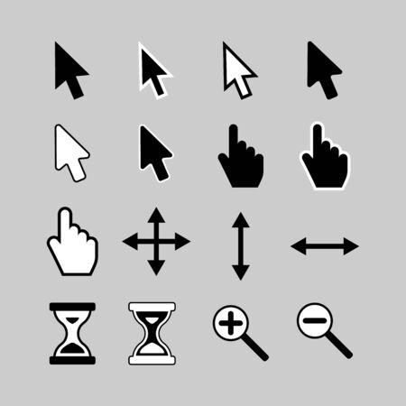 cursor: Set of cursor icons arrow, hand, hourglass and magnifier.