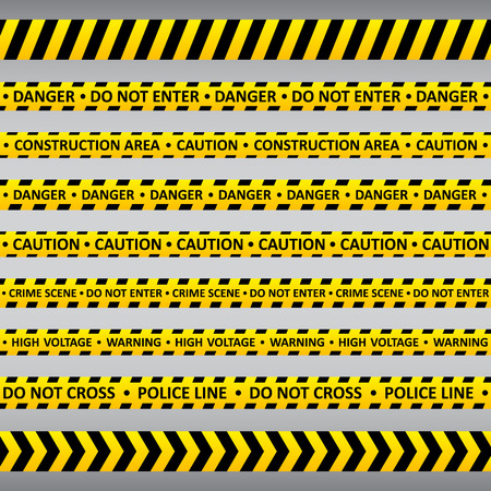 traverse: Set of black and yellows caution tapes with different inscriptions. Police line, do not enter, warning, high voltage, construction area etc.