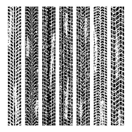 skid: A set of tire tracks in the grunge design, isolated on white background. Illustration