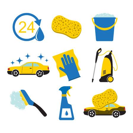 Set van auto wassen gereedschap, samen met het pictogram van de auto. Stock Illustratie