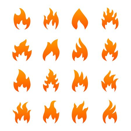 conflagration: Set of orange fire icons, isolated on a white background.