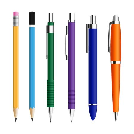 Set of pens and pensils isolated on a white background.