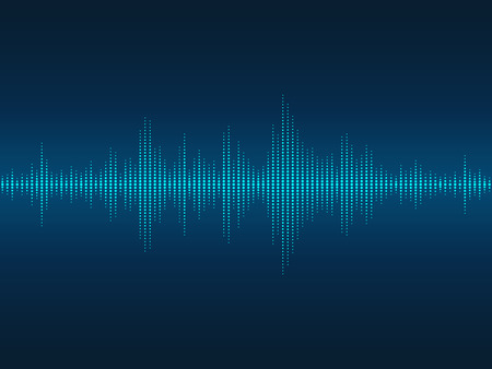 Abstract blue luminous sound waves background for parties, clubs, discos and concerts.