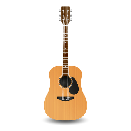 pop musician: Realistic wooden guitar, isolated on a white background. Illustration