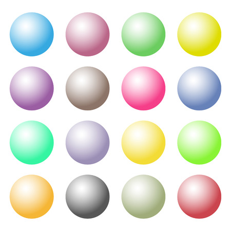 globular: Collection of colorful glossy spheres isolated on white.