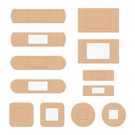 Bandaż samoprzylepny, zwany plastrem. Zestaw ilustracji plastra medycznego.
