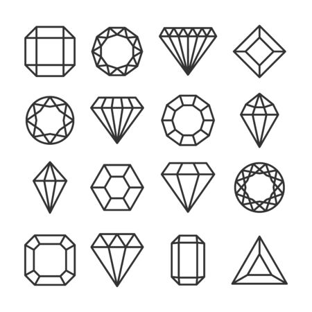 Diamonds or brilliants cute line icons set. Illusztráció