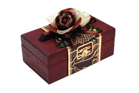 Gift wooden box isolated on a white