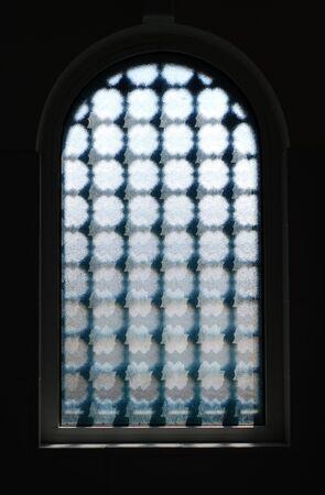 Dark Window with textured glass Stock Photo