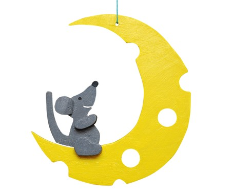 Mouse and moon. Handmade toy.