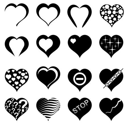 Abstract hart. Set van vector illustraties.