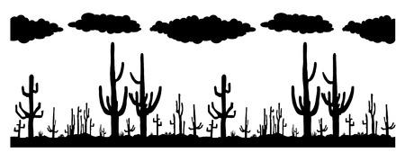 Seamless vector with Saguaro Cactus